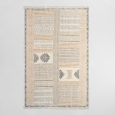 5'x8' Block Print Cotton Suri Area Rug - v1