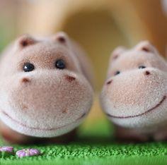 日本进口 植绒小动物摆件 河马的图片
