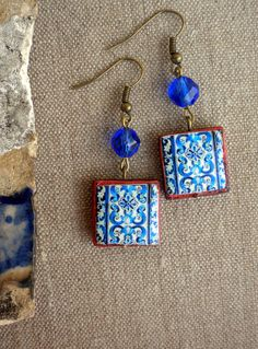 Portugal Blue Azulejo Tile Earrings Replicas from the by Atrio,
