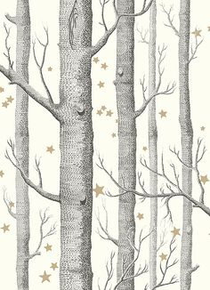 Woods & Stars Wallpaper A Cole's classic wallpaper with a twist, black trees with gold stars on a white background