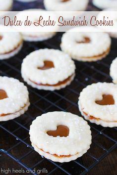 Dulce de Leche Sandwich Cookies. #dessert #shortbread #recipe http://www.highheelsandgrills.com/2014/04/dulce-de-leche-sandwich-cookies.html