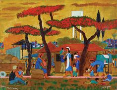 Yochanan Simon - Resting in the Kibbutz, Oil on canvas, 27.5X35 cm.