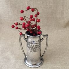 antique trophy, 1915 Massachusetts field day 1/2 mile run, 2nd prize, vintage worn silver old sporting award, childs game room office decor