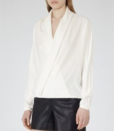 Reiss- Off White Cross-front Blouse