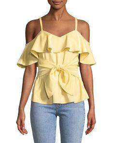 Women's Designer Tops at Neiman Marcus Club Monaco, Ruffle Trim, Flutter Sleeve, Neiman Marcus, Cold Shoulder, Luxury Fashion, Peplum, Model, Casual