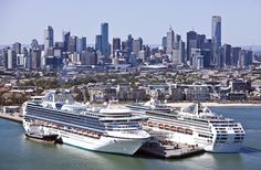 Two cruise ships at Station Pier, city skyline in background. Melbourne. Australia