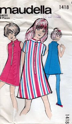 1960s Girl's Mod Zip Front Dress Vintage Sewing by BessieAndMaive, $6.50