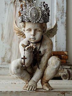 Cherub engel standbeeld sierlijke handgemaakte door AnitaSperoDesign