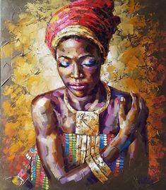 Portrait African Queen - original oil painting on canvas Painting Abstract Portrait, Portrait Art, Woman Portrait, Portrait Paintings, Oil Painting On Canvas, Figure Painting, African American Art, African Men, African Style