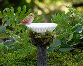 Miniature Fairy Garden Birdbath with bird by TheLittleHedgerow
