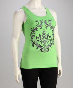 Take a look at this Taffy Green Modern Scroll Plus-Size Racerback Tank - Plus by Taffy on #zulily today!