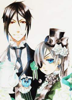 Black Butler Sebastian Michaelis & Ciel Phantomhive in pastel colours♥