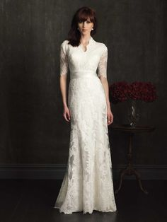 M505-AB Modest wedding gown. All lace with three quarter sleeves. www.adressyoccasion.com modest wedding dresses