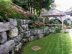 Retaining Wall Boulder Retaining Wall, Concrete Retaining Walls, Garden Retaining Wall, Hillside Landscaping, Landscape Walls, Garden Gates, Garden Inspiration, Garden Design, Outdoor Living