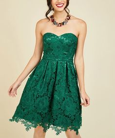 Forest Green Floral Lace Lasting Expression A-Line Dress
