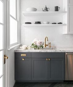 Gray And White Kitchen Cabinets - Design photos, ideas and inspiration. Amazing gallery of interior design and decorating ideas of Gray And White Kitchen Cabinets in decks/patios, kitchens by elite interior designers - Page 1 Dark Wood Kitchen Cabinets, Dark Wood Kitchens, Grey Cabinets, Shaker Cabinets, Faucet Kitchen, Upper Cabinets, Kitchen Backsplash, Kitchen Countertops, Kitchen Island