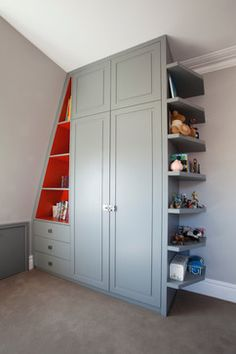 Kids Rooms contemporary kids Great storage option in white and with rectangular bookshelf.