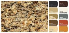 Instantly turn any picture into a palette with ColorSnap, created for you by Sherwin-Williams. Kitchen Colour Schemes, Kitchen Paint Colors, Paint Colors For Home, Painting Kitchen Cabinets, Kitchen Walls, Granite Paint, Brown Granite Countertops, Dark Granite, Granite Colors