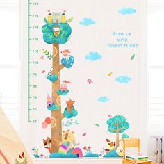 Animals Tree Height Chart Decals – The Treasure Thrift Height Chart, Forest Friends, Animal Nursery, Interior Walls, Creative Design, Thrifting, Wall Decals, Interior Decorating, Simple