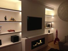 open flame fireplace below tv - Google Search