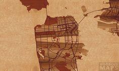 "30""x18"" Woodcut Map of San Francisco"