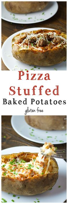Pizza Stuffed Baked Potatoes! These potatoes are crammed with marinara, Italian sausage and CHEESE! Such a great weeknight dinner!