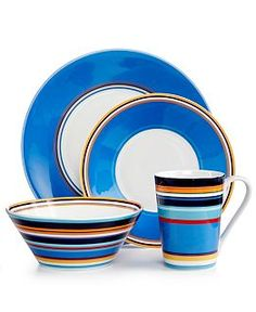 Dinnerware Sets and Fine China  sc 1 st  Pinterest & Isaac Mizrahi Blueberry Caribbean 16-Piece Dinnerware Set ...