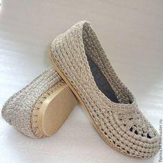 """Обувь ручной работы. Ярмарка Мастеров - ручная работа. Купить Балетки вязаные """"Шик"""", хлопок, серо-бежевый. Handmade."""
