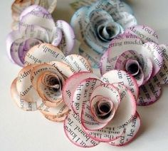 paper flowers, great for cottage chic or rustic wedding table decor