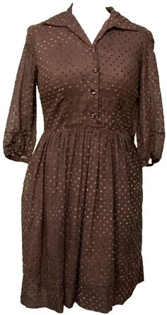 1960s Large Dress Polka Dot Chocolate Brown Cotton Pin Up Plus Size Curvy Retro Rockabilly House Wife Shirt Preppy Mod Madmen Voluptuous Mod
