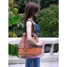 Orange Vintage Shoulder Bag HMONG Hand Woven Handbag