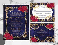 Beauty And The Beast Wedding Theme, Wedding Beauty, Beauty And The Beast Wedding Invitations, Invitation Set, Printable Invitations, Invite, Blue Wedding, Dream Wedding, 1920s Wedding