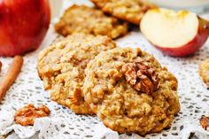 apples oats cinnamon cookies by Arzamasova. apples oats cinnamon cookies on a white wood background. Caramel Apple Cookies, Cinnamon Cookies, Caramel Apples, Apple Caramel, Cinnamon Apples, Desserts With Biscuits, Healthy Vegan Snacks, No Bake Treats, Coconut Oil