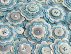 BABY BOY - Handmade Felt Flower Embellishments, Flower Applique, Felt Embellishment, Felt Bloom, Set of 3 via Etsy