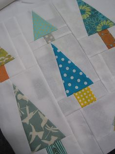 Tree Blocks- cute for a modern christmas tree quilt? Cuz I have time to make a Christmas quilt ;)