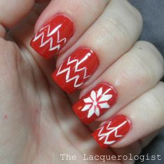 The Lacquerologist: Holiday Nail Art: Red Christmas Sweater!