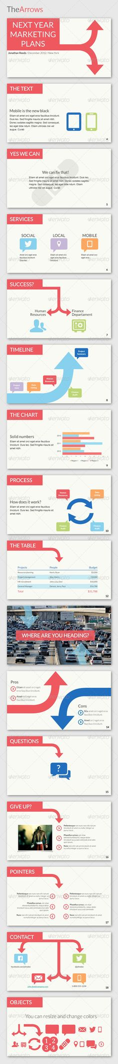 Arrows as cohesive and visual breaks in powerpoint design