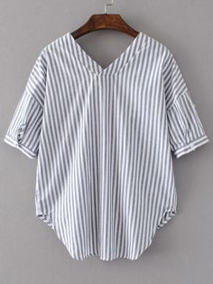 298ea61a8cb7af Shop White And Grey Vertical Striped Double V Neck High Low Blouse online.  SheIn offers White And Grey Vertical Striped Double V Neck High Low Blouse    more ...