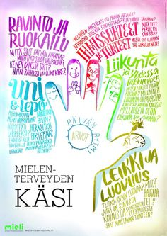 Mielenterveyden käsi | Suomen Mielenterveysseura Coping Skills, Social Skills, Good Mental Health, Early Childhood Education, School Holidays, Health Education, Health And Wellbeing, Learning Activities, Special Education