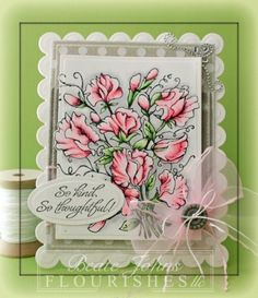 It's Timeless Tuesday over at Flourishes & this weeks challenge is to use flowers. Beate Johns is the hostess this week & she created this beautiful card. For her card she decided to use the gorgeous image from the Sweet Peas stamp set. It was stamped in Tuxedo Black Memento Ink on white cardstock. The image was cut & embossed with the smallest Grand Rectangle Nestabilities die. A sentiment from With Gratitude was stamped in Tuxedo Black ink on a piece of white cardstock. Check out her blog.