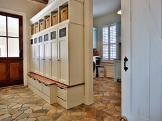 love this for a basement / laundry room floor - House of Turquoise: Stacye Love Construction and Design House Of Turquoise, Mudroom Laundry Room, Laundry Area, Mudroom Cubbies, Flagstone Flooring, House Doors, Home Builders, Locker Storage, Kids Storage