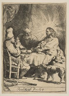 Christ at Emmaus: The Smaller Plate Rembrandt (Rembrandt van Rijn) (Dutch, Leiden 1606–1669 Amsterdam) Date: 1634 Medium: Etching with touches of drypoint Classification: Prints Credit Line: Gift of Harry G. Friedman, 1962 Accession Number: 62.635.411
