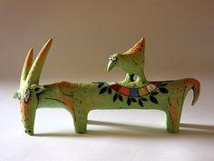 Art by Inna Olshansky - Art People Gallery Pottery Animals, Ceramic Animals, Clay Animals, Ceramic Birds, Farm Animals, Ceramic Figures, Clay Figures, Ceramic Artists, Bird Sculpture