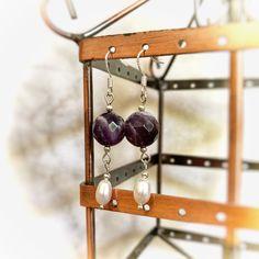 Handmade elegant amethyst & freshwater pearl earrings made with sterling silver hooks Pearl Gemstone, Gemstone Earrings, Pearl Earrings, Wind Chimes, Fresh Water, Wine Rack, Hooks, Amethyst, Handmade Items