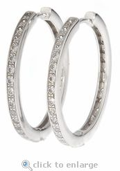 Ziamond Cubic Zirconia Round Hinged Pave Set Hoop Earrings in 14K White Gold.  The Simian Cubic Zirconia Hoop Earrings are available in 14k white gold or 14k yellow gold. #ziamond #cubiczirconia #hoops #pave #earrings #14kgold