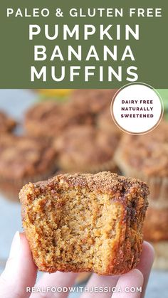 Combining pumpkin and banana makes for one truly delicious muffin! They have just the right balance of both flavors. The distinct banana flavor and the warm pumpkin pie spices makes them so good. Gluten free, dairy free, and naturally sweetened. Best Paleo Recipes, Dairy Free Recipes, Real Food Recipes, Dessert Recipes, Gluten Free Pumpkin, Gluten Free Baking, Gluten Free Desserts, Unprocessed Food, Vegan Treats