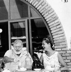 "gregorypecks: "" Ernest Hemingway and Lauren Bacall sitting and laughing outside…"