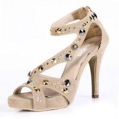 Kvoll Women's Open Toe Platform High Heels Suede Sandals with Rhinestones and Zipper,Beige new arrivals #queenfashion shoes