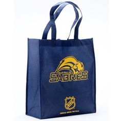 """Buffalo Sabres Navy Blue Reusable Tote Bag by Football Fanatics. $1.99. Buffalo Sabres Navy Blue Reusable Tote Bag100% Non-woven polypropylene fabricImportedLocker loopReusable bagApproximately 6"""" W x 13"""" L x 14.5"""" HTwo carry handlesOfficially licensed NHL productScreen print graphicsReusable bagScreen print graphicsTwo carry handlesLocker loopApproximately 6"""" W x 13"""" L x 14.5"""" HImported100% Non-woven polypropylene fabricOfficially licensed NHL product"""
