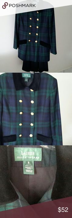 RL WOOL JACKET Green and black plaid 100% wool jacket with gold buttons (1 button removed from top left to put on right bottom which came off). Black velvet collar and faux pocket flaps. Looks brand new. Very stylish. Lauren Ralph Lauren Jackets & Coats